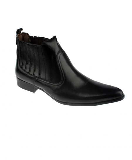 Black Ankle High Slip on Leather Shoes LC-314