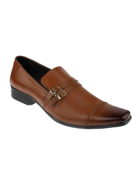 Brown Dotted Design Leather Formal Shoes LC-322