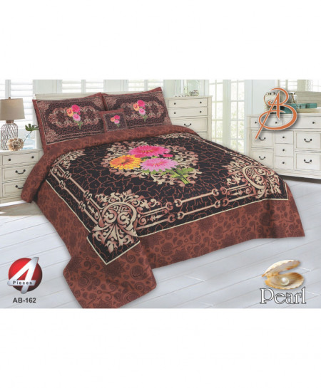 Brown Floral Pearl Cotton Bedsheet PBS-AB-162