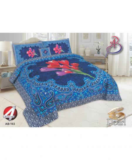 Royal Blue Floral Pearl Cotton Bedsheet PBS-AB-163