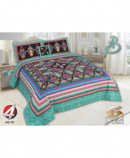 Blue MultiColor Floral Pearl Cotton Bedsheet PBS-AB-167