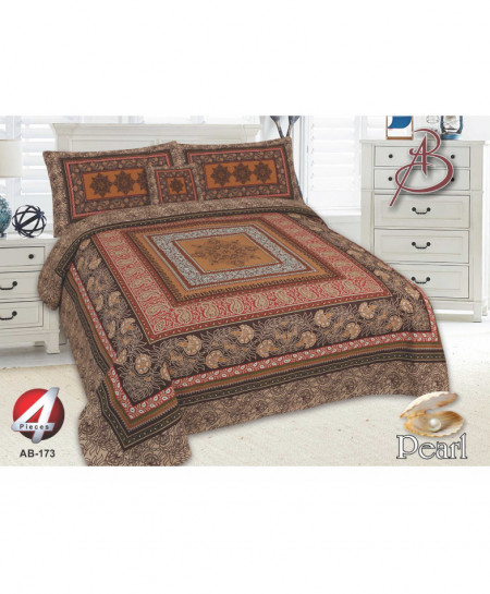 Brown Floral Pearl Cotton Bedsheet PBS-AB-173