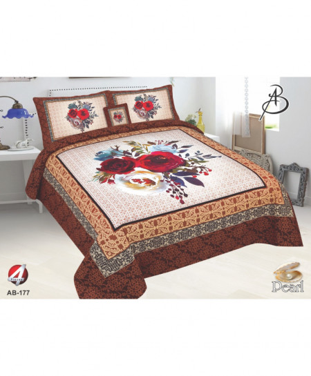 Brown Floral Pearl Cotton Bedsheet PBS-AB-177