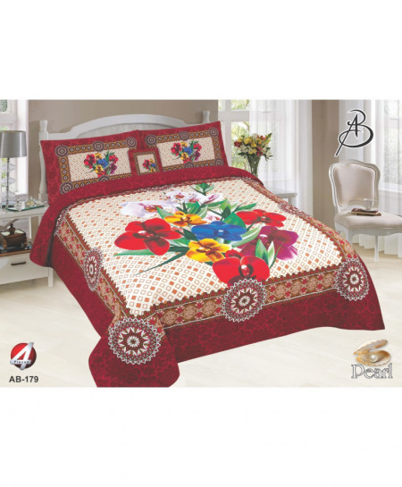 Dark Pink Floral Pearl Cotton Bedsheet PBS-AB-179