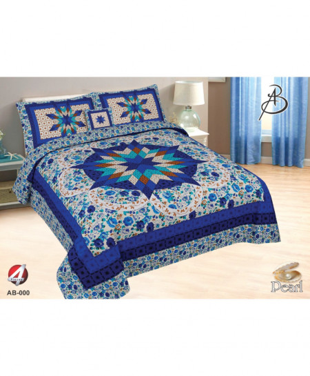 Blue Floral Pearl Cotton Bedsheet PBS-AB-005
