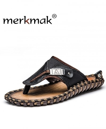 Merkmak Black Flip Flops Genuine Leather Slippers