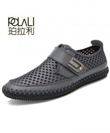 POLALI Black Breathable Mesh Genuine Leather Slip On Loafers