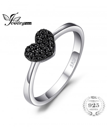 JewelryPalace 925 Sterling Silver 0.14ct Black Spinel Love Heart Rings