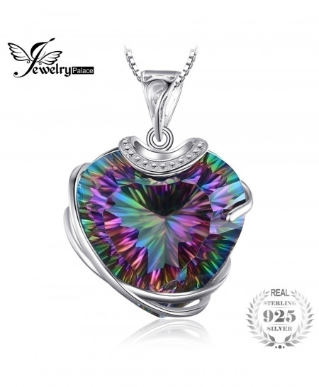 925 Solid Sterling Silver Huge 31.6ct Rainbow Fire Mystic Topaz Heart Necklace Pendant