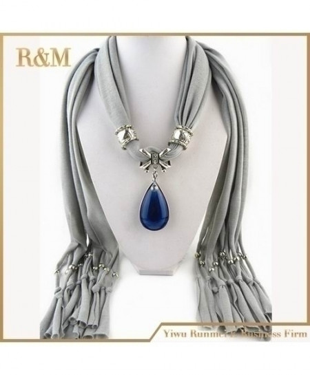 Blue Stone Gemstone Water Drop Pendant Gray Scarf