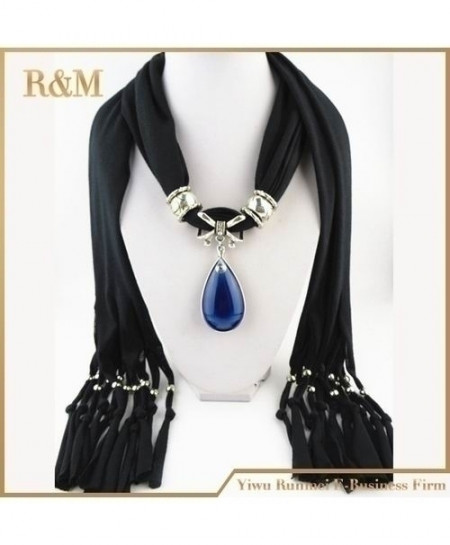 Blue Stone Gemstone Water Drop Pendant Black Scarf
