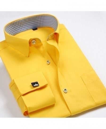 Yellow Luxury French Cuff Patchwork Shirt
