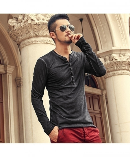 Dark Gray Color Designer Cotton Henry Cardigan T-Shirt
