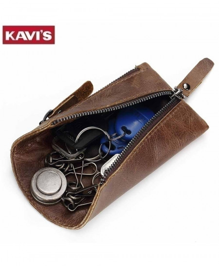 KAVIS Genuine Leather Housekeeper Car Key Wallet Bag
