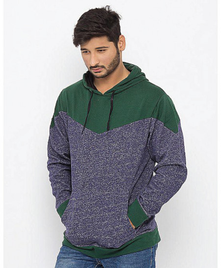 Green Ink Blue Dual Pannel Designer Hoodie ABS-62