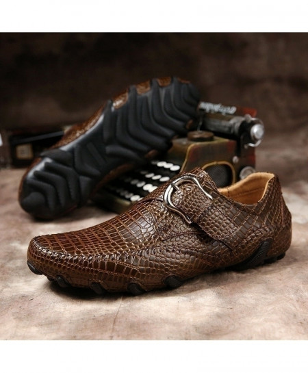 GNOME Brown Leather Crocodile Texture Slip On Italian Loafers