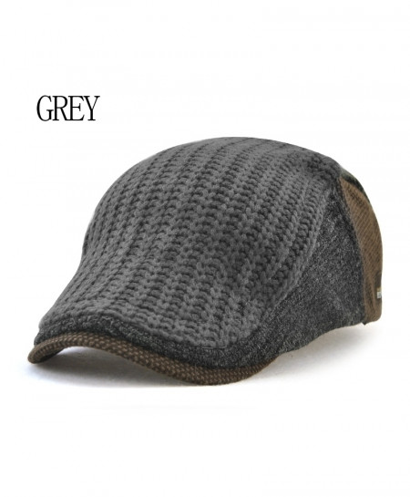 Gray Casual Peaked Cotton Berets Knit Wool Beret Hat