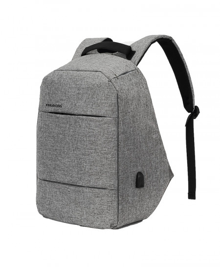KINGSLONG Gray Anti Theft Rechargeable USB Water-Resistant 15.6 Inch Laptop Backpack