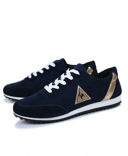 Navy Lace-up Breathable Sneakers