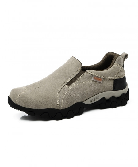 Light Gray Slip On Hiking Rubber Leather Boots