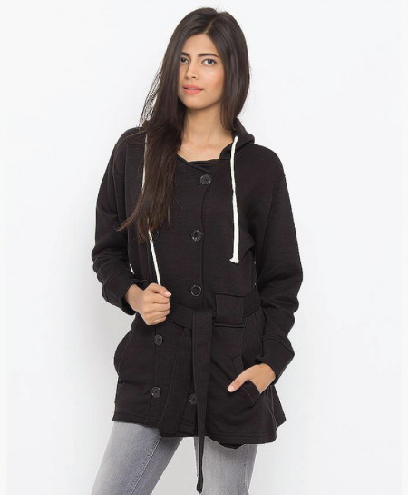 Black Fleece Coat For Women SPK-098
