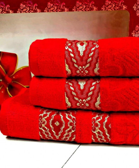 Pack of 3 Luxury Red Pattern Bath Hand Towels Set T-52