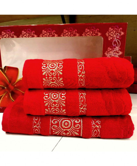 Pack of 3 Luxury Red Pattern Bath Hand Towels Set T-51