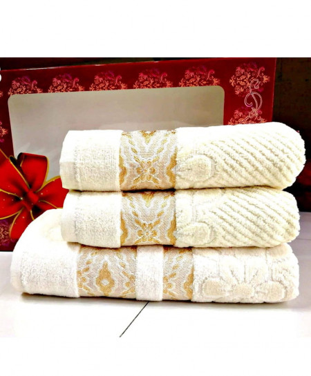 Pack of 3 Luxury White Pattern Bath Hand Towels Set T-53