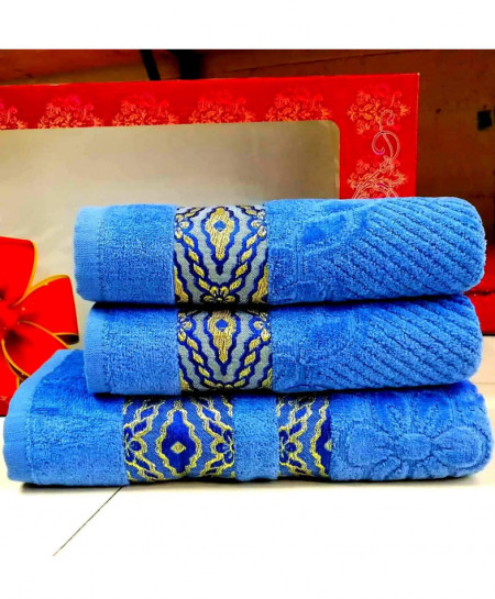 Pack of 3 Luxury Blue Pattern Bath Hand Towels Set T-56