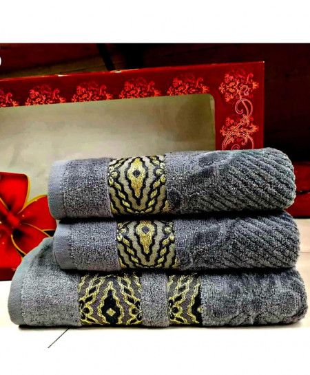 Pack of 3 Luxury Gray Pattern Bath Hand Towels Set T-55