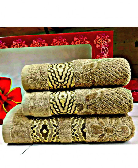 Pack of 3 Luxury Brown Pattern Bath Hand Towels Set T-57