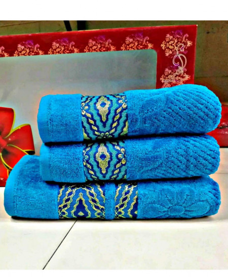 Pack of 3 Luxury Blue Pattern Bath Hand Towels Set T-59