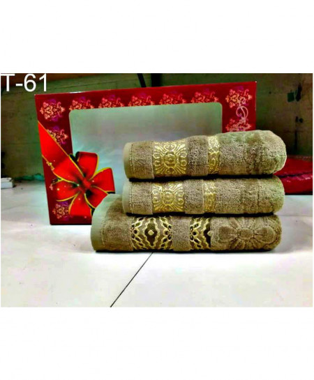 Pack of 3 Luxury Brown Pattern Bath Hand Towels Set T-61