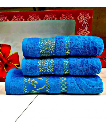 Pack of 3 Luxury Blue Pattern Bath Hand Towels Set T-62