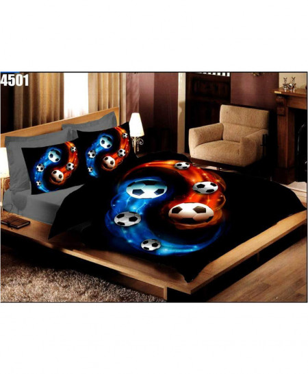 Black Footballs Digital Printed Bedsheet