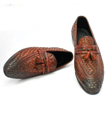 Corio Mustard Handwoven Tassel Leather Loafer CSO-JC-142