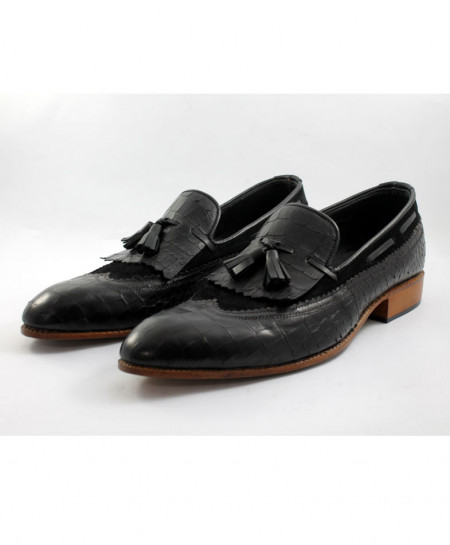 Corio Black Leather Croc Tassel Loafer Shoes CSO-JC-55