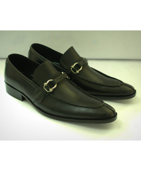 Corio Black Leather Buckle Up Design Shoes CSO-C101182