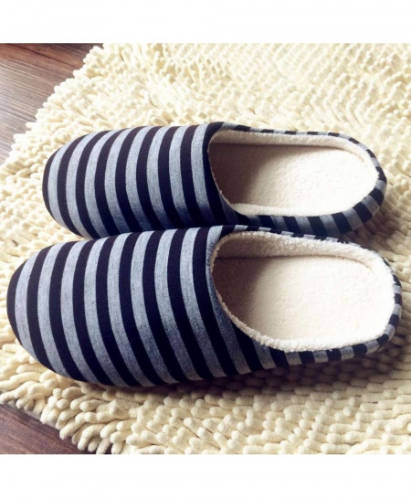 OUTAD Black Grey Striped Winter Warm Soft indoor Slippers