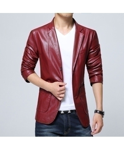 Red PU Leather Fashion Fitness Windbreaker Jacket