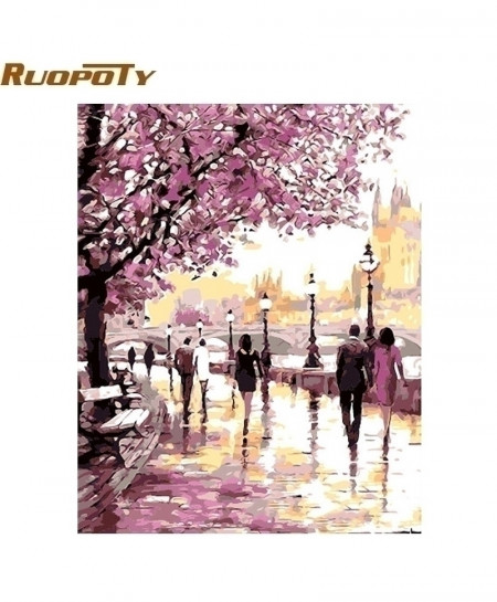 RUOPOTY Frame Cherry Blossoms Road Diy Oil Painting