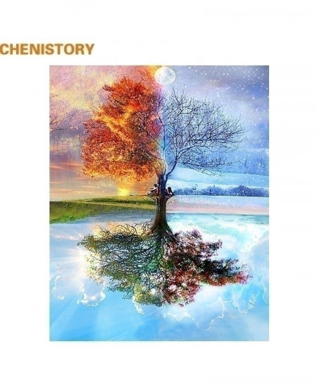 CHENISTORY Frameless Four Seasons Tree Landscape Paintint