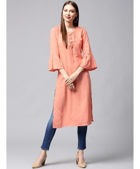Peach Laces Button Style Ladies Kurti ALK-147