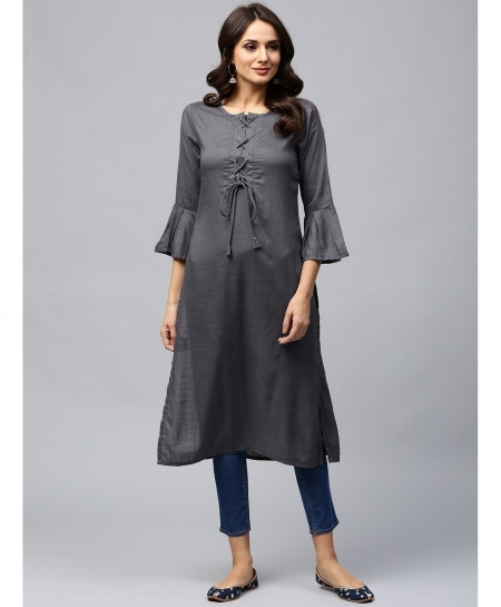 Silver Laces Button Style Ladies Kurti ALK-146