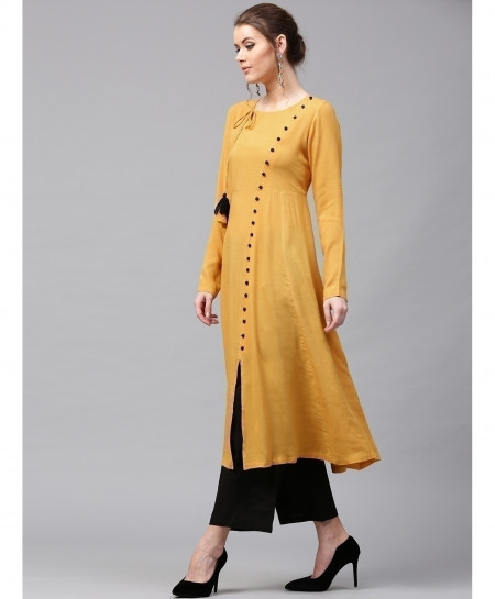 Pale Gold Cross Neck Button Style Ladies Kurti ALK-144