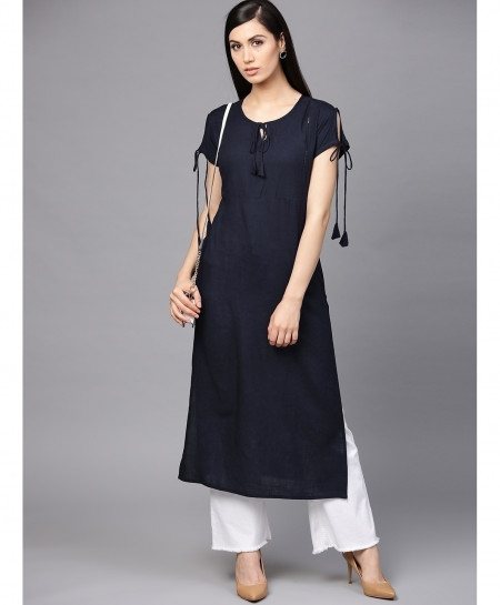 Navy Dori Neck Style Ladies Sleeveless Kurti ALK-138