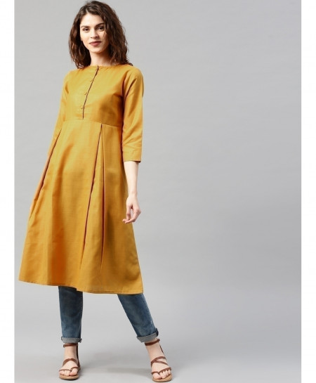 Gold Button Neck Frock Style Ladies Kurti ALK-136