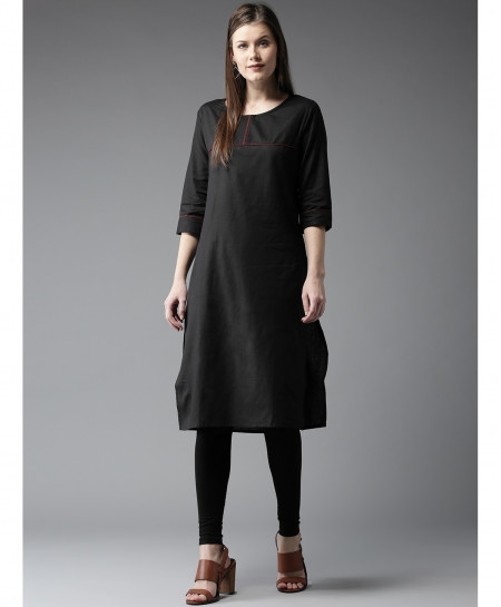 Black Front Tipping Neck Style Ladies Kurti ALK-135