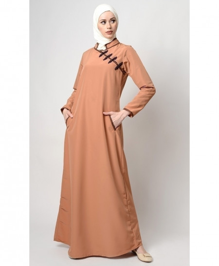 Peach Khaki Cross Neck Style Ladies Abaya FLK-405