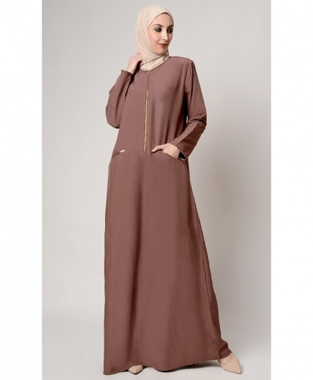 Chocolate Zipper Pocket Style Ladies Abaya FLK-404